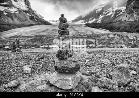 Inuksuk, Columbia Icefield Rocks in Jasper National Park - Stock Image