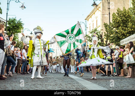 Sibiu City, Romania - 14 June 2019. The Flavours of the Notting Hill Carnival from London performing at the Sibiu International Theatre Festival from  - Stock Image
