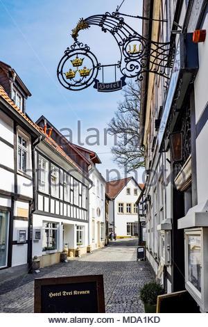 Hotel Drei Kronen — Three Crowns — in central Tecklenburg, Germany - Stock Image