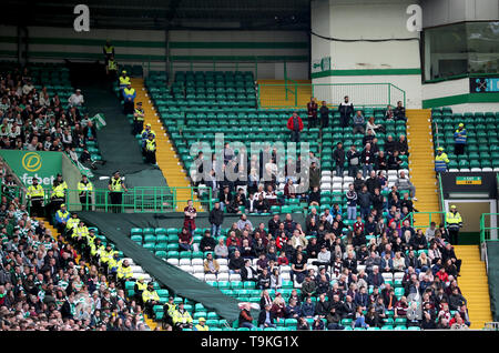 A general view of fans in the stands during the Ladbrokes Scottish Premiership match at Celtic Park, Glasgow. - Stock Image