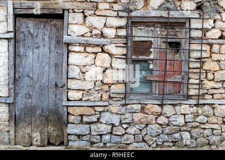 Doorway & window  Lin village Albania - Stock Image