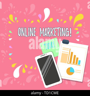 Word writing text Online Marketing. Business photo showcasing leveraging web based channels spread about companys brand Layout Smartphone Off Sticky N - Stock Image
