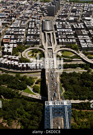 aerial photograph George Washington Bridge, Manhattan, New York City - Stock Image