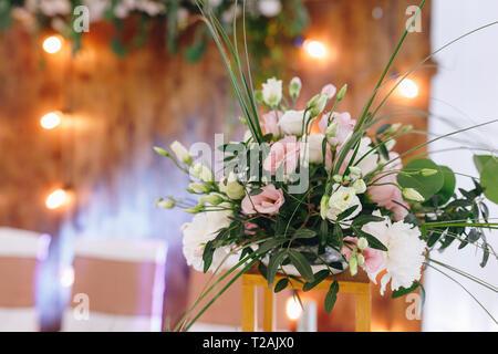 Flower arrangement at wedding - Stock Image