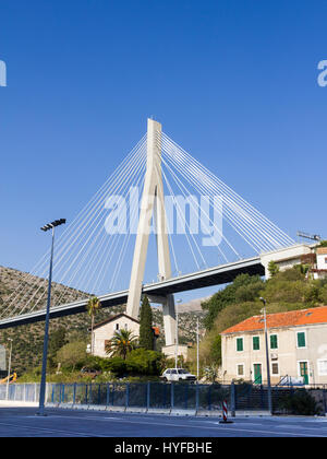 Franjo Tudman Bridge (Most dr. Franje Tudmana) is a cable-stayed bridge at the western approach to Dubrovnik, Croatia - Stock Image