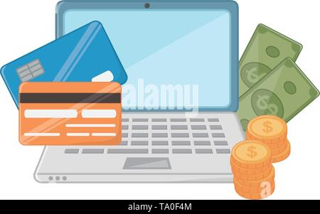 Laptop design, Store shopping online ecommerce media market and internet theme Vector illustration - Stock Image