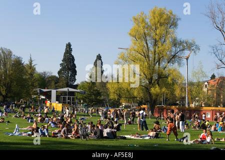 Switzerland Zurich Blatterwiese people sunbathing in summer - Stock Image