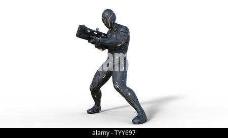 Futuristic android soldier in bulletproof armor, military cyborg armed with sci-fi rifle gun shooting on white background, 3D rendering - Stock Image