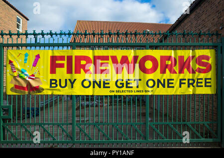 A large sign promoting sale of Fireworks buy one get one free in North Yorkshire England UK - Stock Image