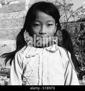 Pigtails, Kathmandu, 2017 - Stock Image