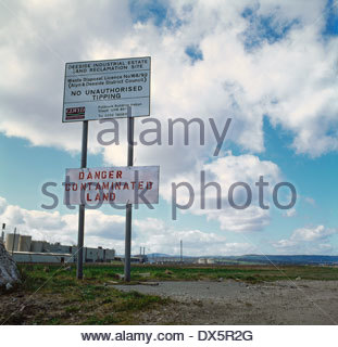 Land reclamation site - formally a steel mill, Deeside, Wales - Stock Image