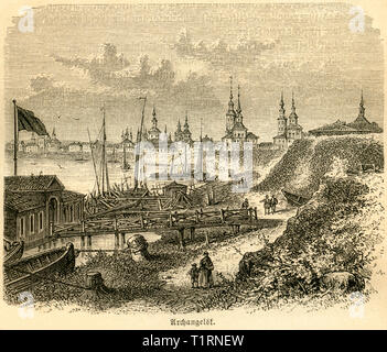 Russia, Northwestern, Arkhangelsk, image from: 'Das heutige Russland ', (Russia today), published by H.v. Lankenau and L.v.d. Oelsnitz, publishing house Otto Spamer, 1876. , Additional-Rights-Clearance-Info-Not-Available - Stock Image