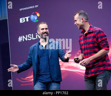 Twin doctors Chris and Xand van Tulleken explain how to lose weight, find love and live forever (without really trying), on the main stage, at New Scientist Live - Stock Image