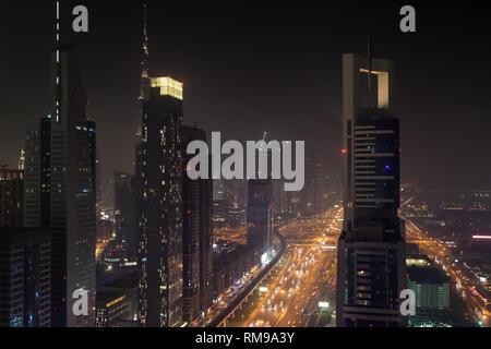 Financial District at night, Dubai, United Arab Emirates. - Stock Image