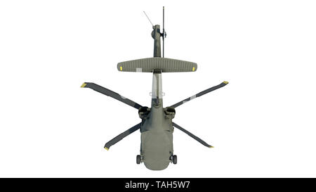 Helicopter in flight, military aircraft, army chopper isolated on white background, rear bottom view, 3D rendering - Stock Image