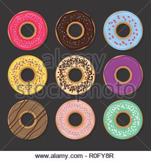 Collection of various glazed donuts - Stock Image