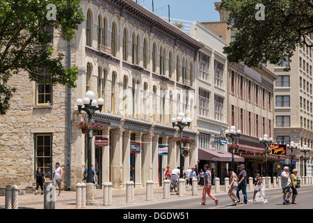 Tourists enjoy a sunny Summers day in Alamo Plaza San Antonio Texas USA - Stock Image