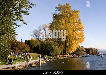 Switzerland Zuerich Zurich lake promenade in autumn people trees - Stock Image