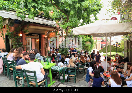 Bars restaurants at Plaka Stairs, Athens: Anafiotika Cafe - Stock Image