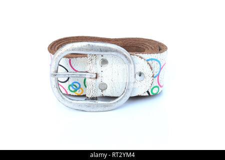 fashion leather belt on isolated - Stock Image