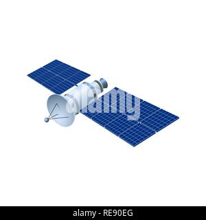 Realistic 3d satellite. Wireless satellite technology GPS. illustration - Stock Image