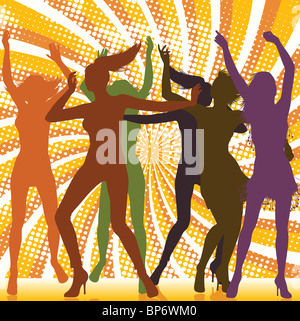 Dancing Girls With Ray Background - Stock Image