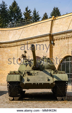 Front of a old war tank by a museum on the Cytadela park in Poznan, Poland - Stock Image