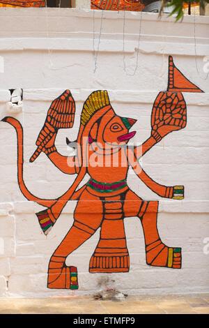 Indian God Hanuman. Stylised painting on a wall. Jaisalmer, India - Stock Image