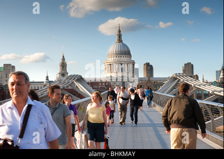image of st pauls cathedral dome from millenium pedestrian footbridge - Stock Image