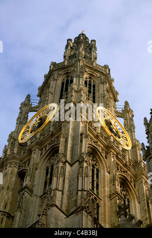 Belgium, Flanders, Antwerp; The bell-tower from the Gothic Onze Lieve Vrouwkathedraal - Stock Image