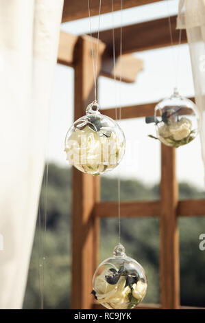 glass decoration for a wedding arch - Stock Image