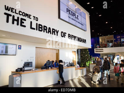 The reception desk inside The Library of Birmingham in England UK - Stock Image