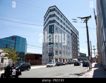 June 23, 2018- St. Johns, Newfoundland: The flat iron triangle architecture of the Mix Condos - Stock Image