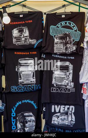 Bielsko-Biala, Poland. 12th Aug, 2017. International automotive trade fairs - MotoShow Bielsko-Biala. T-shirts for sale with truck drawings. Credit: Lukasz Obermann/Alamy Live News - Stock Image