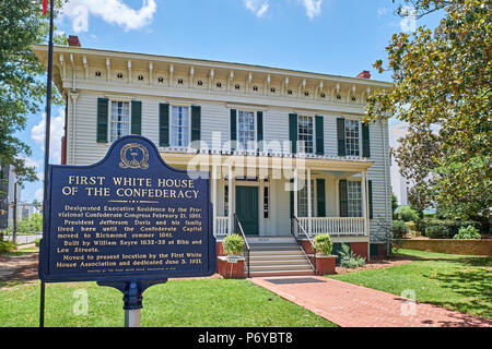 Front entrance exterior of the First White House of the Confederacy a Civil War historical landmark and tourist attraction in Montgomery Alabama USA. - Stock Image