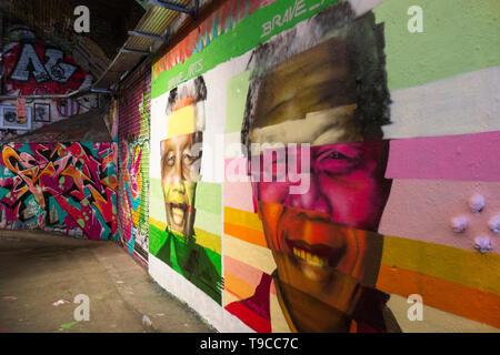 Brave_Arts portrait of President Nelson Mandela, Leake Street Arches, Waterloo, Southwark, London, SE1, UK - Stock Image
