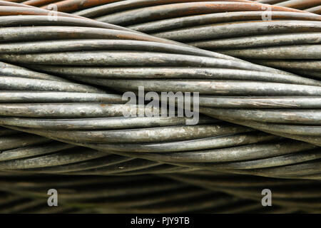 Close up of Thick Braided Wire Cable Horizontal - Stock Image