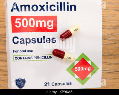 Colour-coded capsules of anti-biotic medicine AMOXICILLIN 500mg and package in UK - Stock Image