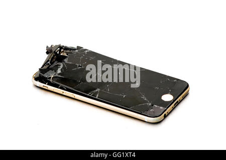 Dropped i-Phone 6 with seriously cracked screen! - Stock Image