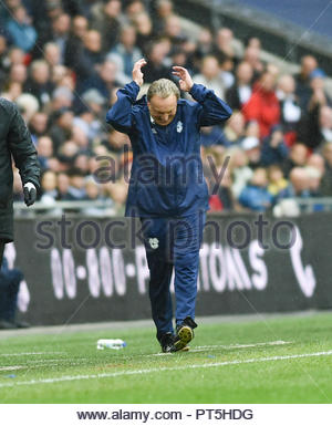 CardiffÕs Manager  Neil Warnock shows his frustration during the Premier League match between Tottenham Hotspur and Cardiff City at Wembley Stadium , London , 06 October 2018 - Stock Image