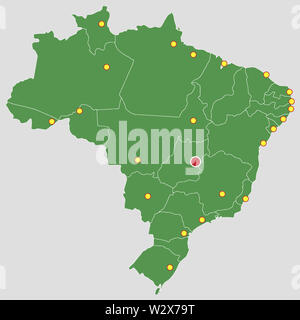 Brazil green map country major cities states geography illustration - Stock Image
