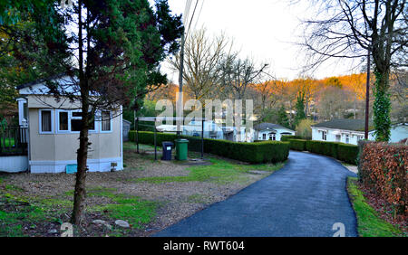 Pathfinder Village estate of prefabricated manufactured house in Devon - Stock Image