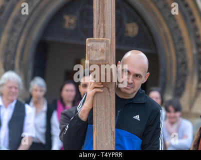 Easter Walk of Witness, on Good Friday, in Brentwood, Essex commemorating Easter by local churches, passing from  St Thomas Church to a service in the - Stock Image