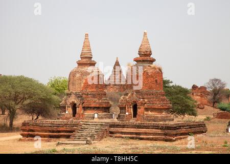 Stupa in Old Bagan village area, Mandalay region, Myanmar, Asia - Stock Image