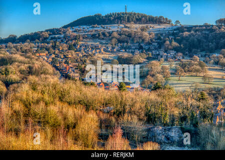 Bolehill, Derbyshire Dales. 23rd Jan 2019. UK Weather: A dusting of snow on a bright cold morning over Bolehill, Derbyshire Dales, Peak District Credit: Doug Blane/Alamy Live News - Stock Image