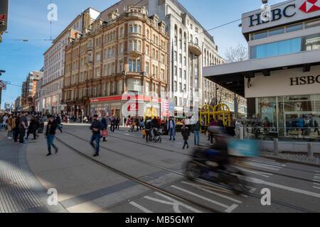 Crossing of New street and Corporation street, Birmingham UK - Stock Image