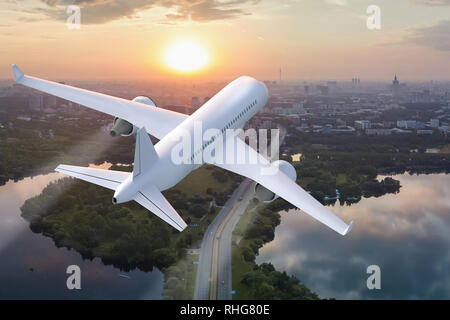 Plane taking off on the background of the city at sunset - 3d render - Stock Image
