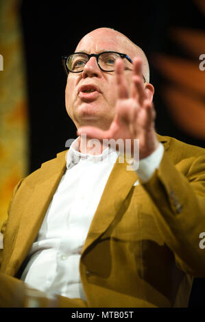 Michael Wolff journalist & author of Fire and Fury, detailing the chaos of the Trump White House, speaking on stage at Hay Festival 2018 Hay-on-Wye Powys Wales UK - Stock Image