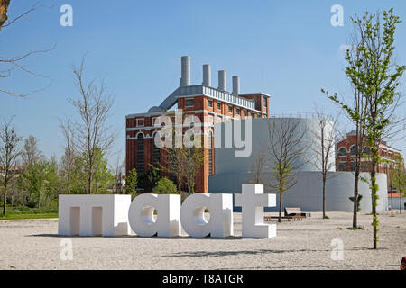 MAAT sign outside the Tejo Power Station in Belem, Lisbon Portugal Europe EU  KATHY DEWITT - Stock Image
