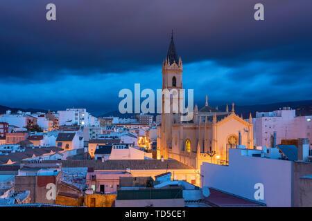 Parroquia San Pablo before sunrise in Malaga center, Malaga, Andalucia, Spain, Europe - Stock Image